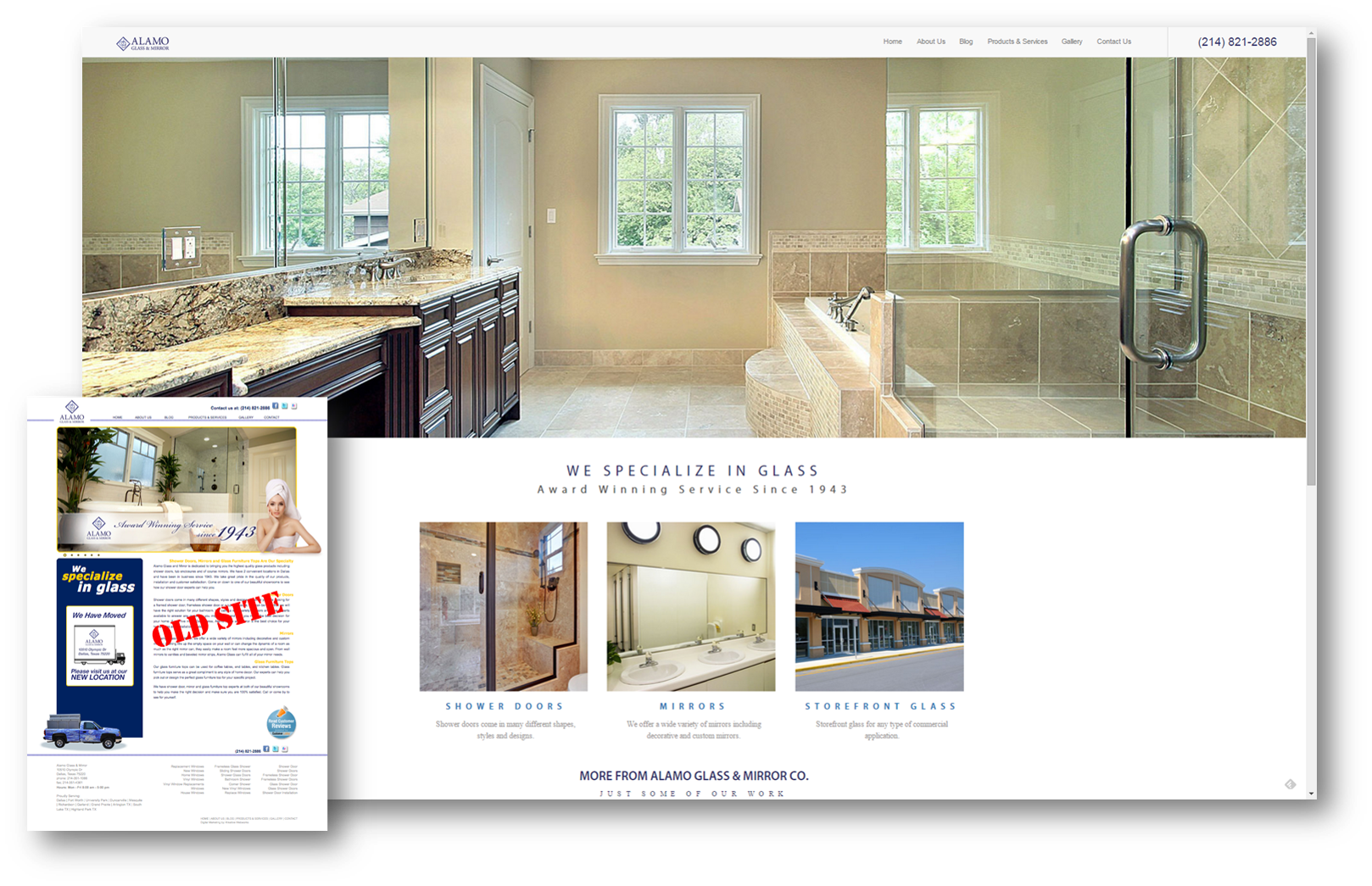 Website before and after comparison for glass & mirror website
